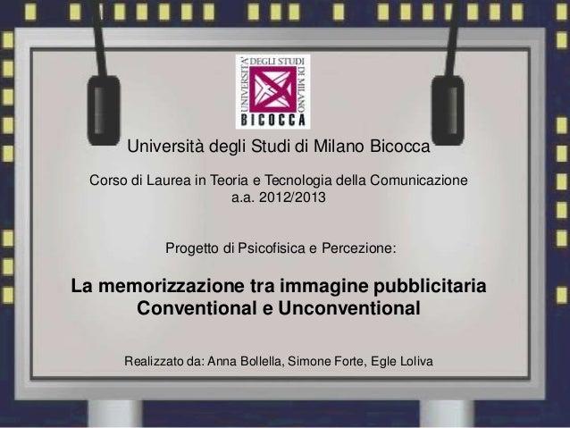Università degli Studi di Milano BicoccaCorso di Laurea in Teoria e Tecnologia della Comunicazionea.a. 2012/2013Progetto d...