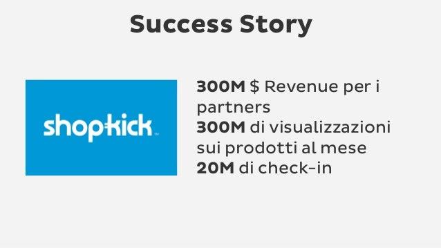 Success Story 300M $ Revenue per i partners 300M di visualizzazioni sui prodotti al mese 20M di check-in