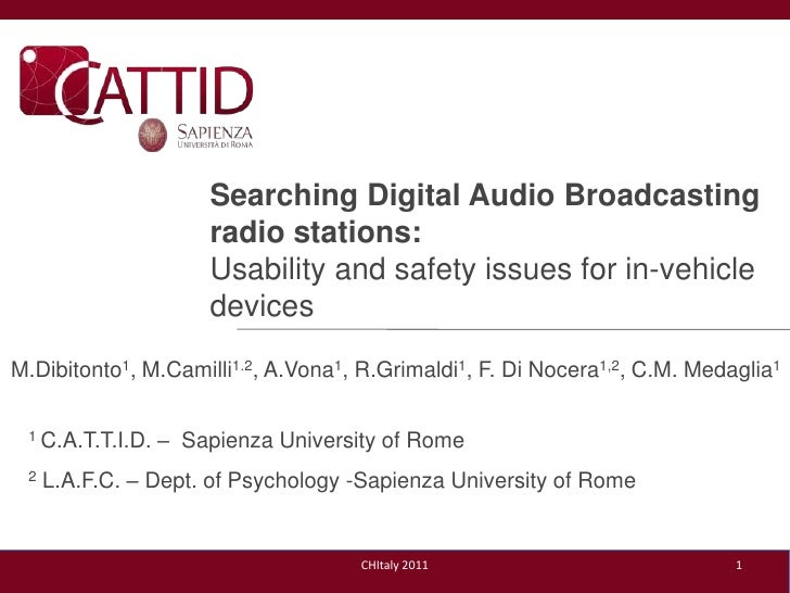 Searching Digital Audio Broadcasting radio stations:<br />Usability and safetyissues for in-vehicledevices<br />1<br />M.D...