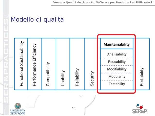 Verso la Qualità del Prodotto Software per Produttori ed Utilizzatori Modello di qualità 16