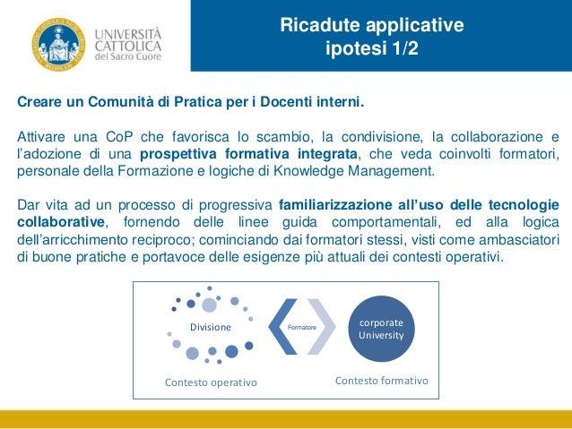 Ricadute applicative ipotesi 1/2 Creare un Comunità di Pratica per i Docenti interni. Attivare una CoP che favorisca lo sc...