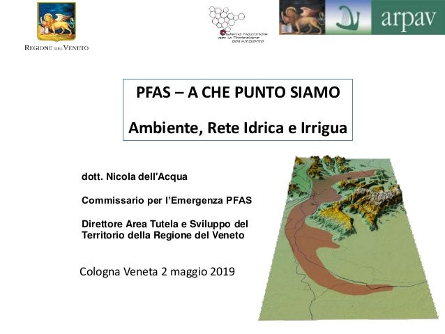dott. Nicola dell'Acqua Commissario per l'Emergenza PFAS Direttore Area Tutela e Sviluppo del Territorio della Regione del...