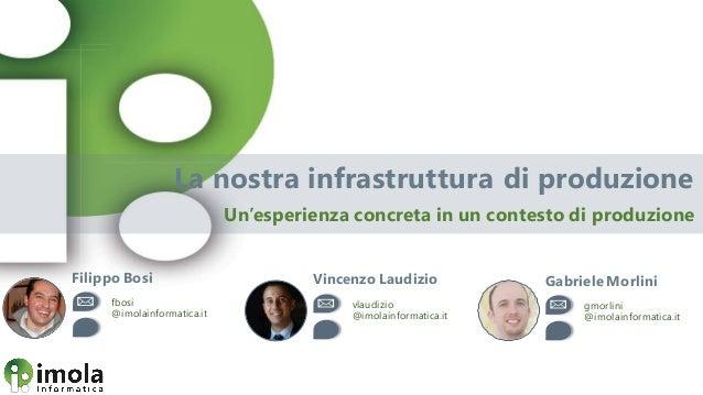 La nostra infrastruttura di produzione Un'esperienza concreta in un contesto di produzione Filippo Bosi fbosi @imolainform...