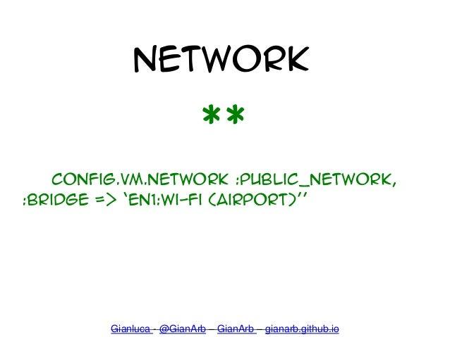 Network ** Config.VM.Network :public_network, :bridge => 'en1:Wi-Fi (AirPort)'' Gianluca - @GianArb – GianArb – gianarb.gi...