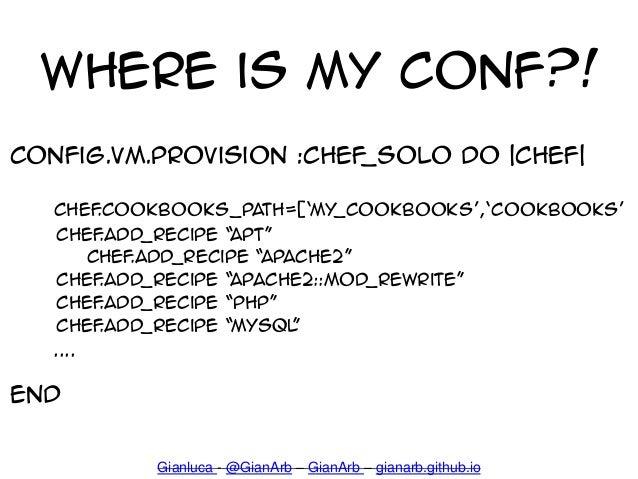 Where is my Conf?! config.vm.provision :chef_solo do  chef  Chef.cookbooks_path=['my_cookbooks','cookbooks' chef.add_recip...