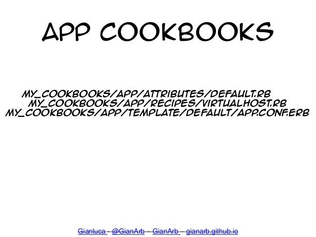 App cookbooks Gianluca - @GianArb – GianArb – gianarb.github.io My_cookbooks/app/attributes/default.rb My_cookbooks/app/re...