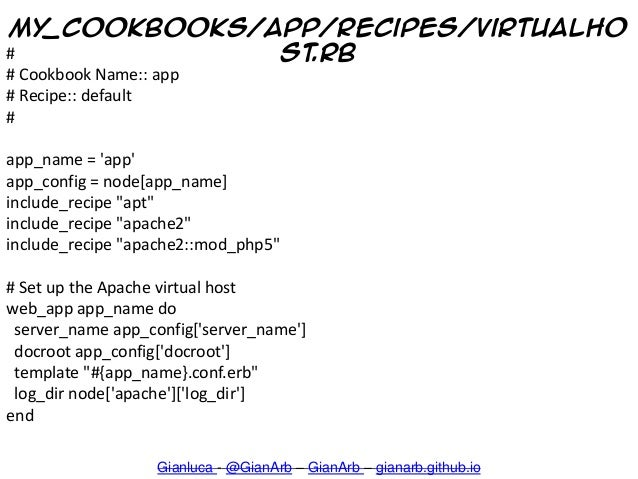 My_cookbooks/app/recipes/virtualho st.rb Gianluca - @GianArb – GianArb – gianarb.github.io # # Cookbook Name:: app # Recip...