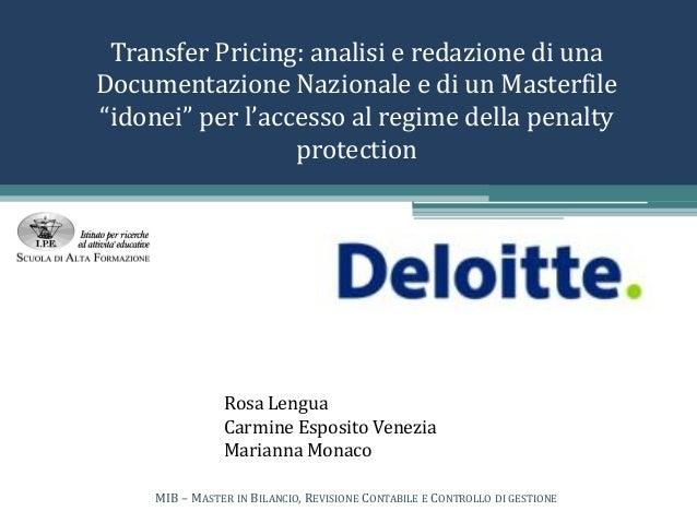 """Transfer Pricing: analisi e redazione di una Documentazione Nazionale e di un Masterfile """"idonei"""" per l'accesso al regime ..."""