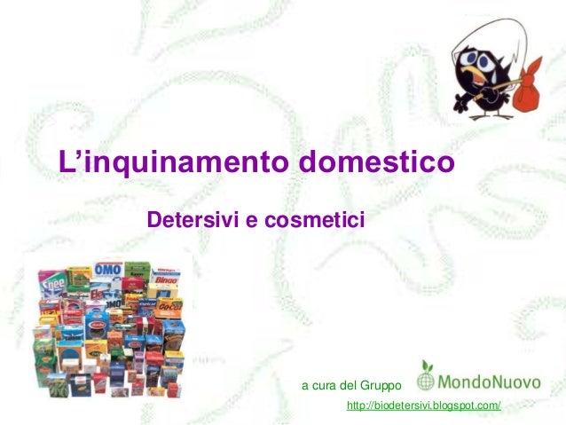 L'inquinamento domestico Detersivi e cosmetici  a cura del Gruppo http://biodetersivi.blogspot.com/