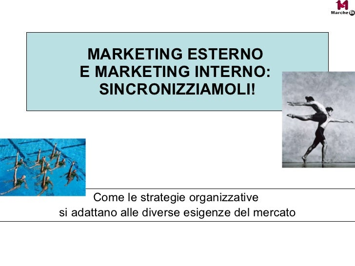 MARKETING ESTERNO  E MARKETING INTERNO:  SINCRONIZZIAMOLI! Come le strategie organizzative  si adattano alle diverse esige...