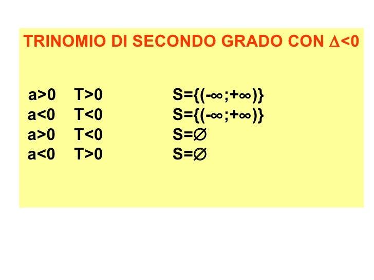Disequazioni di secondo grado - Tavola di tracciamento secondo grado ...