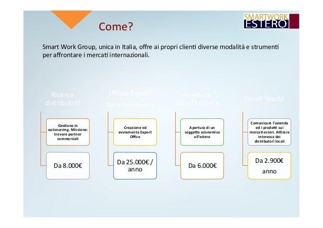 Come? SmartWorkGroup,unicainItalia,offreaipropriclien4diversemodalitàestrumen4 peraffrontareimerca4interna...