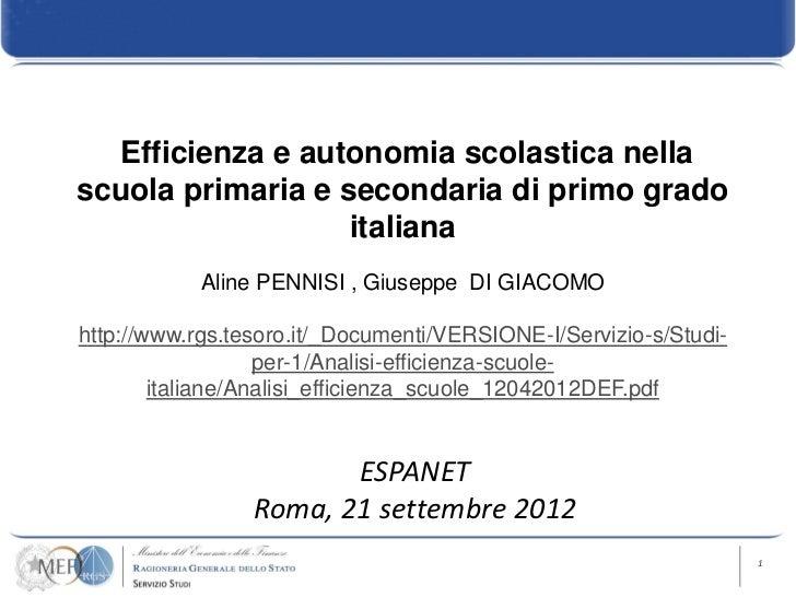 Efficienza e autonomia scolastica nellascuola primaria e secondaria di primo grado                   italiana            A...