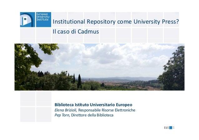 1 Institutional Repository come University Press? Il caso di Cadmus Biblioteca Istituto Universitario Europeo Elena Brizio...