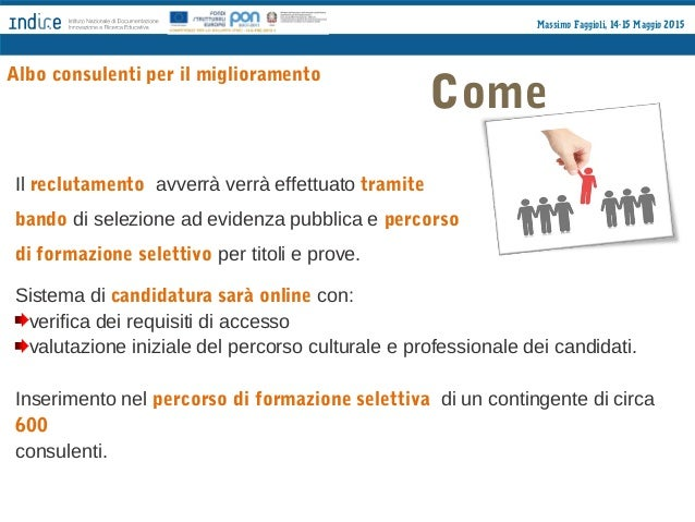 Massimo Faggioli, 14-15 Maggio 2015 Percorso di formazione selettiva Albo consulenti per il miglioramento