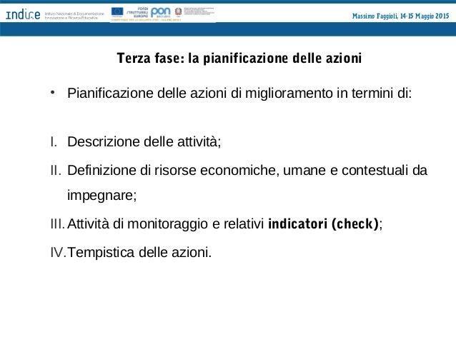 Massimo Faggioli, 14-15 Maggio 2015 Quarta fase: valutazione e diffusione Tutte le azioni che riguardano il Piano di Migli...