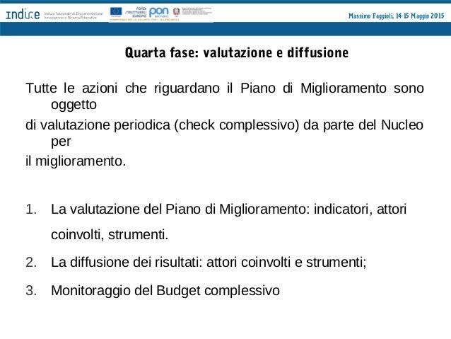 Massimo Faggioli, 14-15 Maggio 2015 Quinta fase: la descrizione del Nucleo per il Miglioramento Viene chiesto alla scuola ...