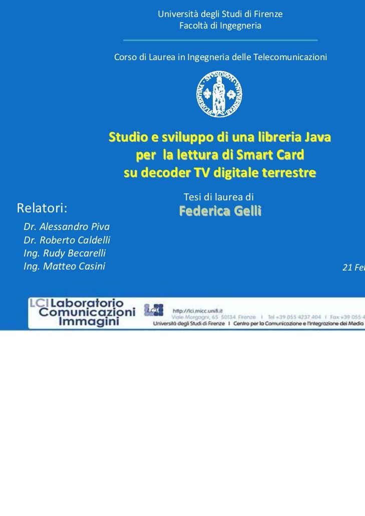Università degliStudidiFirenze                                       Facoltà diIngegneria                        Corso...