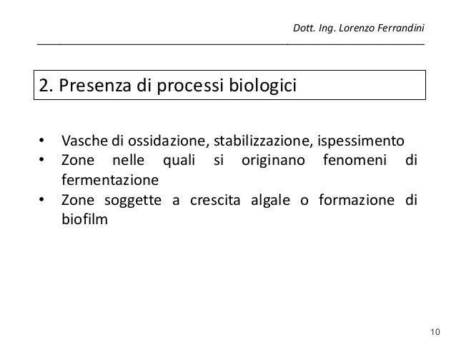 10 2. Presenza di processi biologici • Vasche di ossidazione, stabilizzazione, ispessimento • Zone nelle quali si originan...