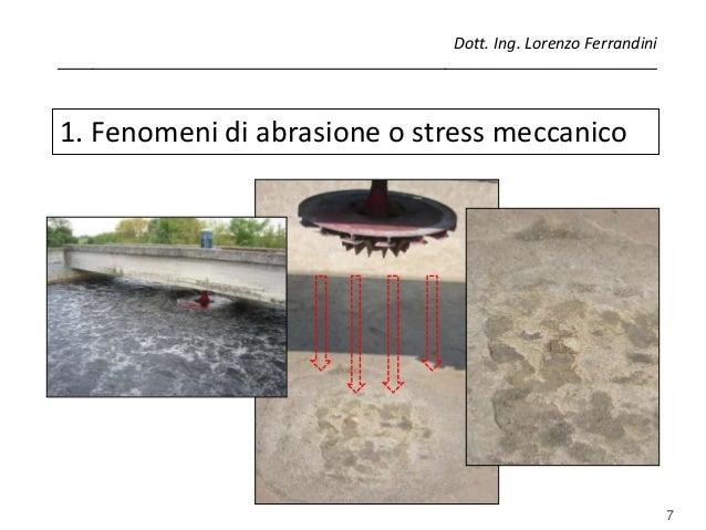 7 1. Fenomeni di abrasione o stress meccanico Dott. Ing. Lorenzo Ferrandini ______________________________________________...