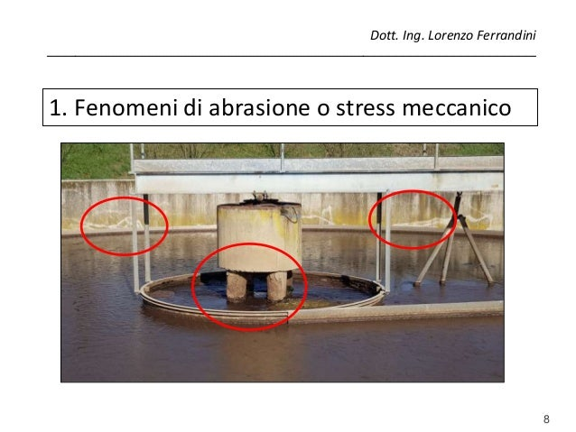 8 1. Fenomeni di abrasione o stress meccanico Dott. Ing. Lorenzo Ferrandini ______________________________________________...