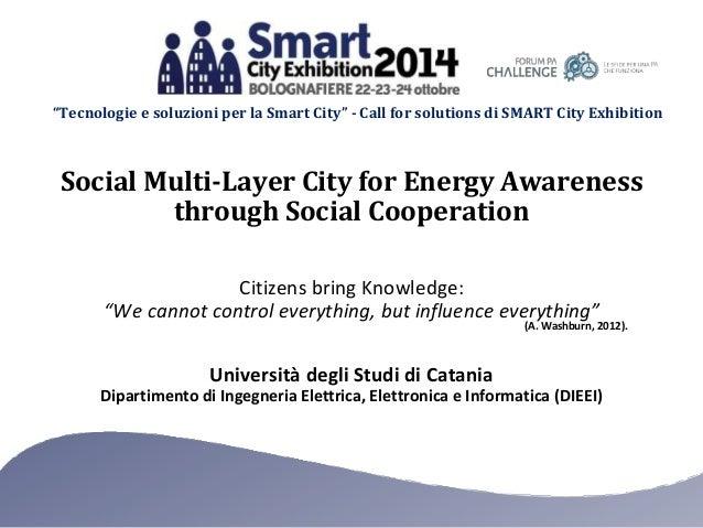 """""""Tecnologie e soluzioni per la Smart City"""" - Call for solutions di SMART City Exhibition  Social Multi-Layer City for Ener..."""
