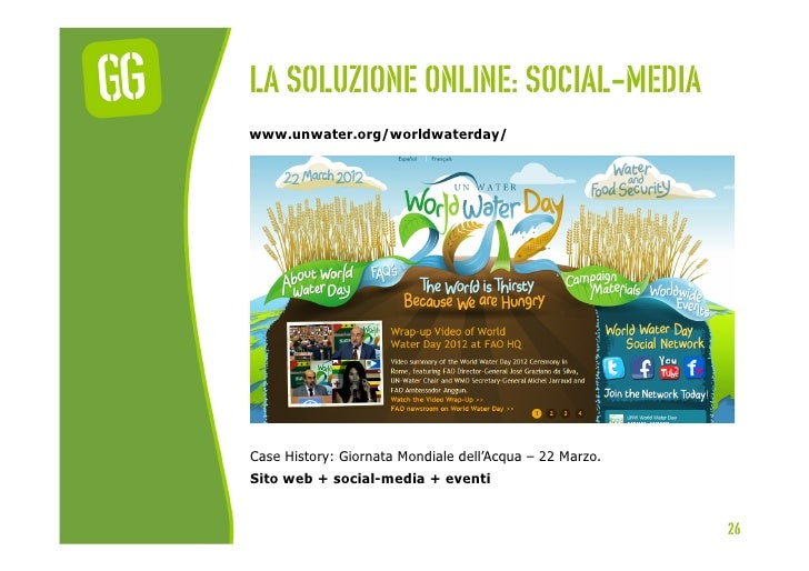 La soluzione online: social-mediawww.unwater.org/worldwaterday/Case History: Giornata Mondiale dell'Acqua – 22 Marzo.Sito ...