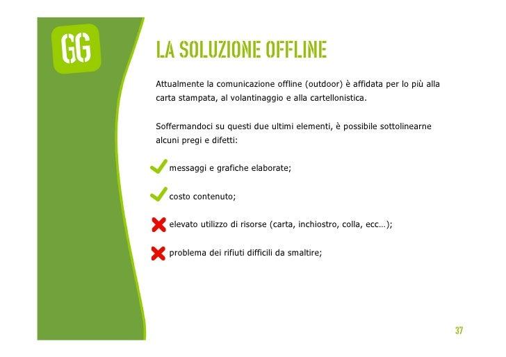 La soluzione offlineAttualmente la comunicazione offline (outdoor) è affidata per lo più allacarta stampata, al volantinag...