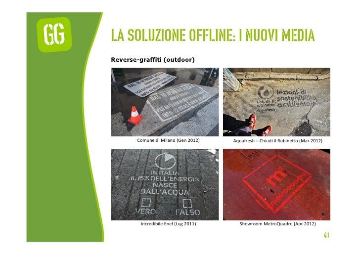 La soluzione offline: I nuovi mediaReverse-graffiti (outdoor)        Comune di Milano (Gen 2012)    Aquafresh ...