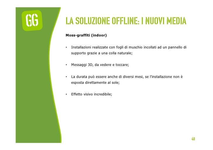 La soluzione offline: I nuovi mediaMoss-graffiti (indoor)•   Installazioni realizzate con fogli di muschio incollati ad u...