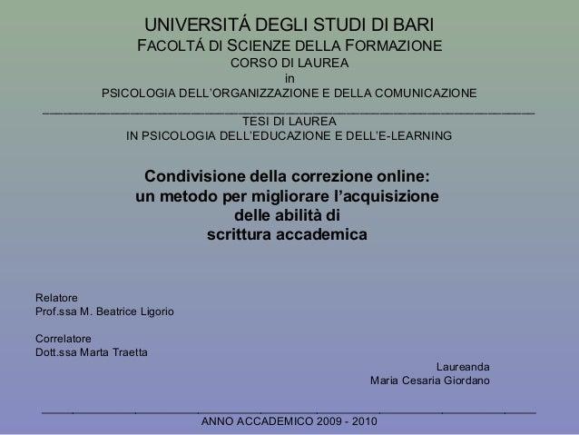 UNIVERSITÁ DEGLI STUDI DI BARI                    FACOLTÁ DI SCIENZE DELLA FORMAZIONE                                CORSO...