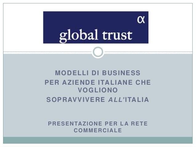 MODELLI DI BUSINESS PER AZIENDE ITALIANE CHE VOGLIONO SOPRAVVIVERE ALL'ITALIA PRESENTAZIONE PER LA RETE COMMERCIALE