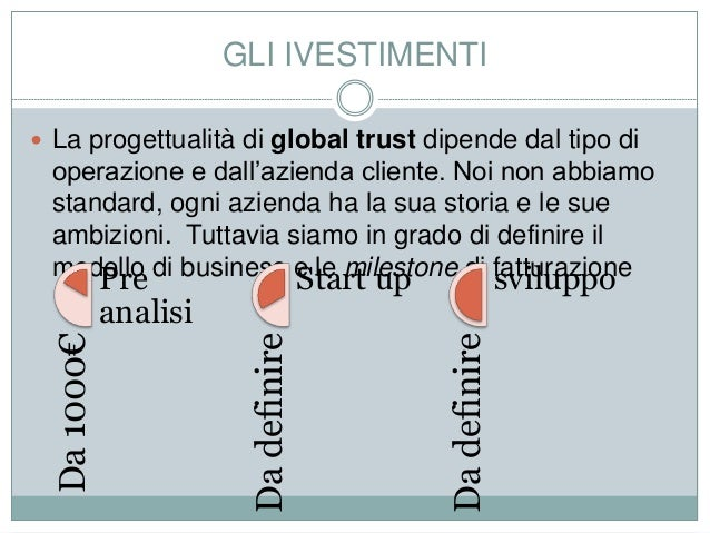 GLI IVESTIMENTI  La progettualità di global trust dipende dal tipo di operazione e dall'azienda cliente. Noi non abbiamo ...