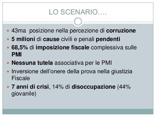 LO SCENARIO….  43ma posizione nella percezione di corruzione  5 milioni di cause civili e penali pendenti  68,5% di imp...