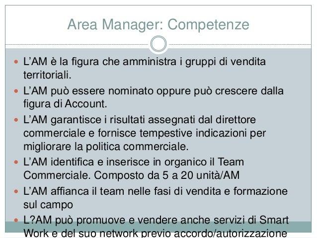 Area Manager: Competenze  L'AM è la figura che amministra i gruppi di vendita territoriali.  L'AM può essere nominato op...