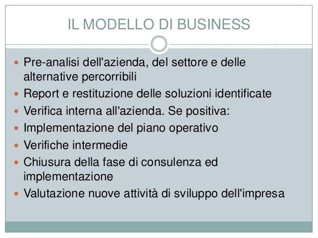 IL MODELLO DI BUSINESS  Pre-analisi dell'azienda, del settore e delle alternative percorribili  Report e restituzione de...
