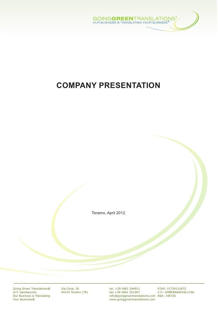COMPANY PRESENTATION                                                  Teramo, April 2012                                  ...