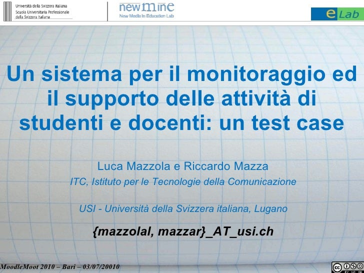 Un sistema per il monitoraggio ed      il supporto delle attività di   studenti e docenti: un test case                   ...