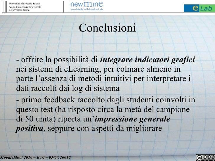 Conclusioni          - offrire la possibilità di integrare indicatori grafici         nei sistemi di eLearning, per colmar...