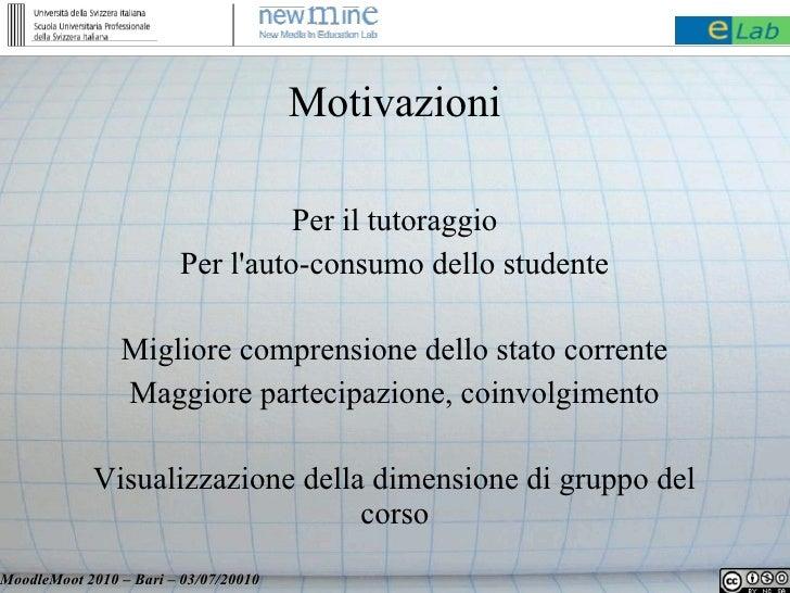 Motivazioni                                    Per il tutoraggio                         Per l'auto-consumo dello studente...
