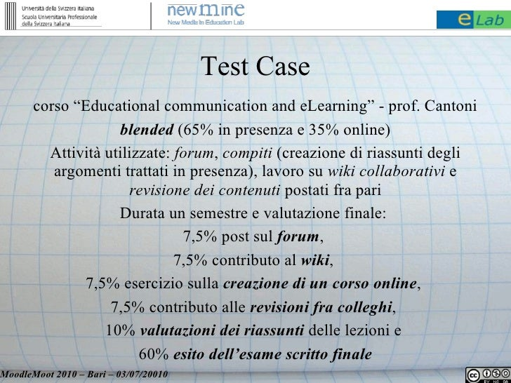 """Test Case        corso """"Educational communication and eLearning"""" - prof. Cantoni                     blended (65% in prese..."""