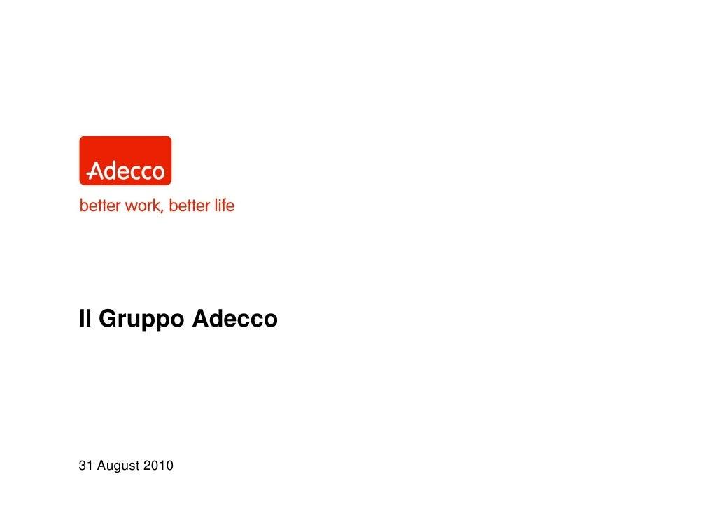 Il Gruppo Adecco     31 August 2010
