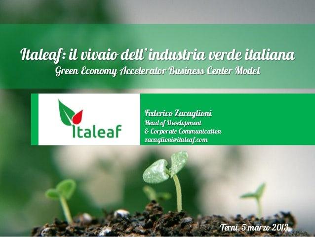 Italeaf: il vivaio dell'industria verde italiana Green Economy Accelerator Business Center Model  Federico Zacaglioni  Hea...