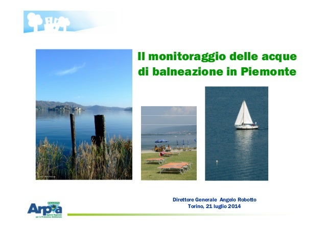 Direttore Generale Angelo Robotto Torino, 21 luglio 2014 Il monitoraggio delle acque di balneazione in Piemonte