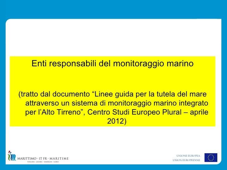 """Enti responsabili del monitoraggio marino(tratto dal documento """"Linee guida per la tutela del mare   attraverso un sistema..."""