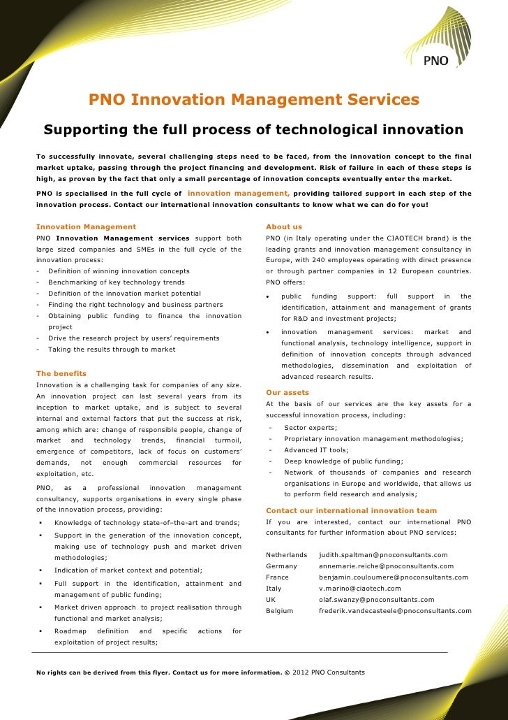 PNO Innovation Management Services    Supporting the full process of technological innovationTo successfully innovate, sev...