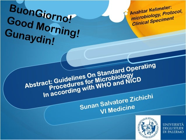 Guidelines on Standard Operating Procedures for Microbiology