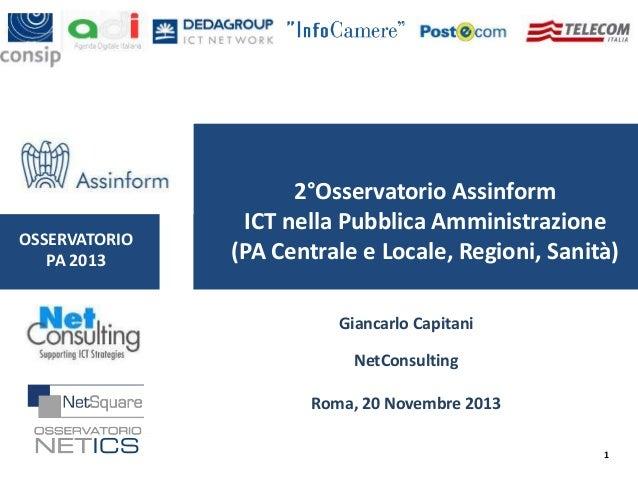 OSSERVATORIO PA 2013  2°Osservatorio Assinform ICT nella Pubblica Amministrazione (PA Centrale e Locale, Regioni, Sanità) ...