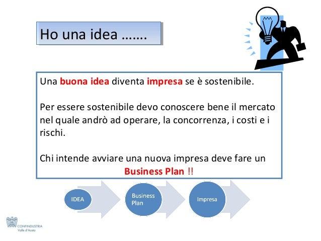 Ho una idea ……. Ho una idea ……. Una buona idea diventa impresa se è sostenibile. Per essere sostenibile devo conoscere ben...