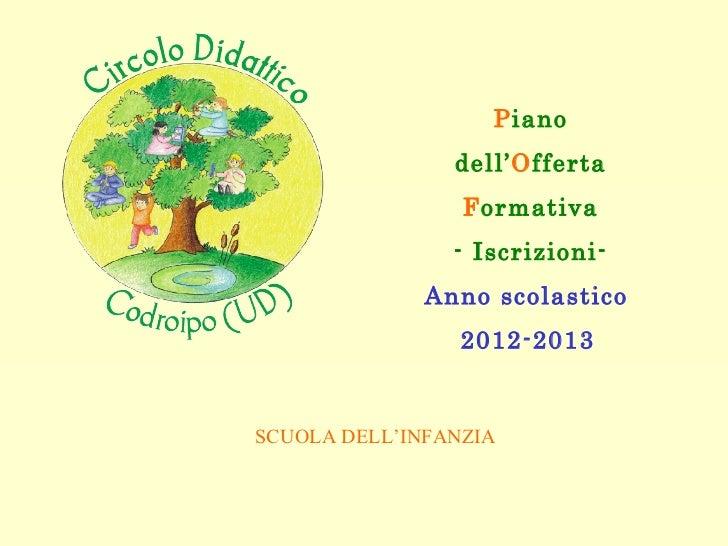 P iano dell' O fferta F ormativa - Iscrizioni- Anno scolastico  2012-2013   SCUOLA DELL'INFANZIA